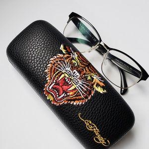 93a8fa755a7 Ed hardy Glass Case Pure leather Embroidery